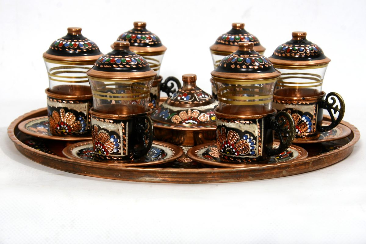 ориенталски сервиз за чай с поднос и захарник 2